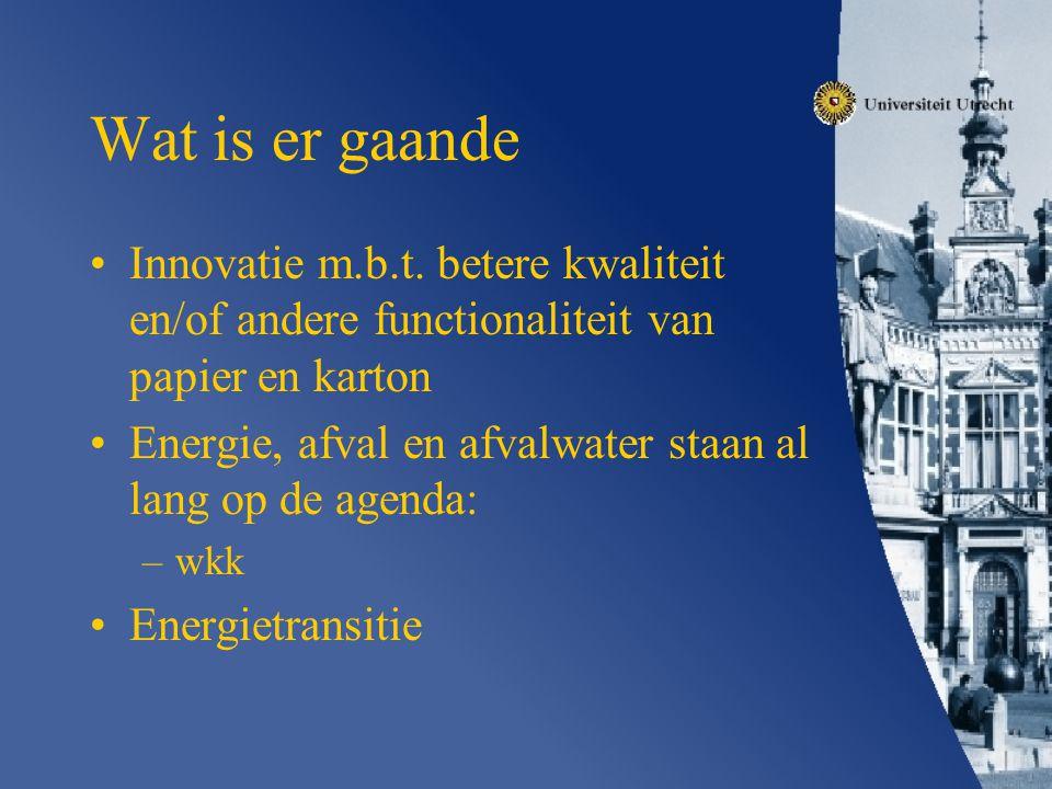 Wat is er gaande Innovatie m.b.t. betere kwaliteit en/of andere functionaliteit van papier en karton.