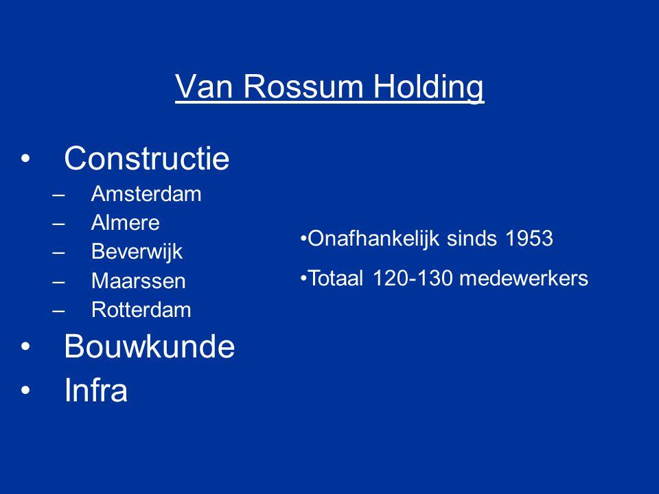 Van Rossum Holding Constructie Bouwkunde Infra Amsterdam Almere