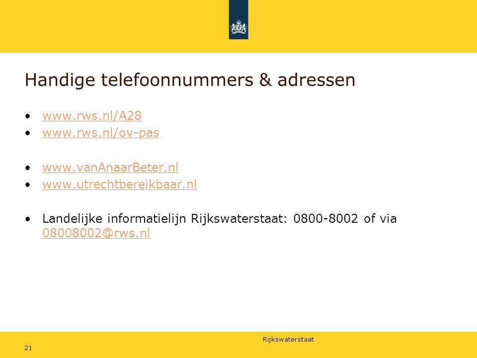 Handige telefoonnummers & adressen