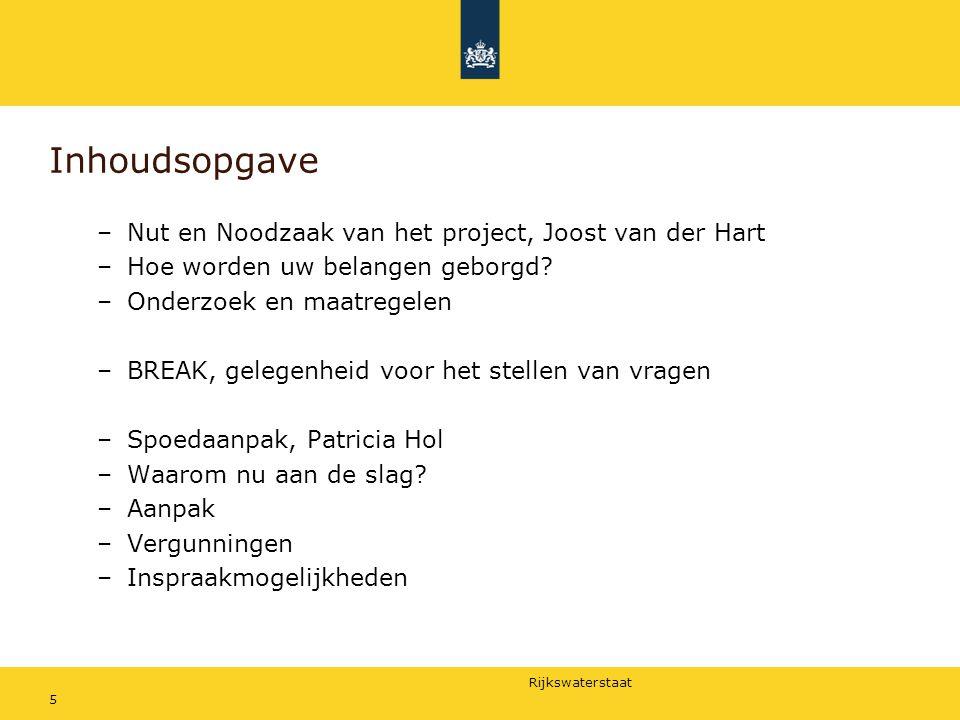 Inhoudsopgave Nut en Noodzaak van het project, Joost van der Hart