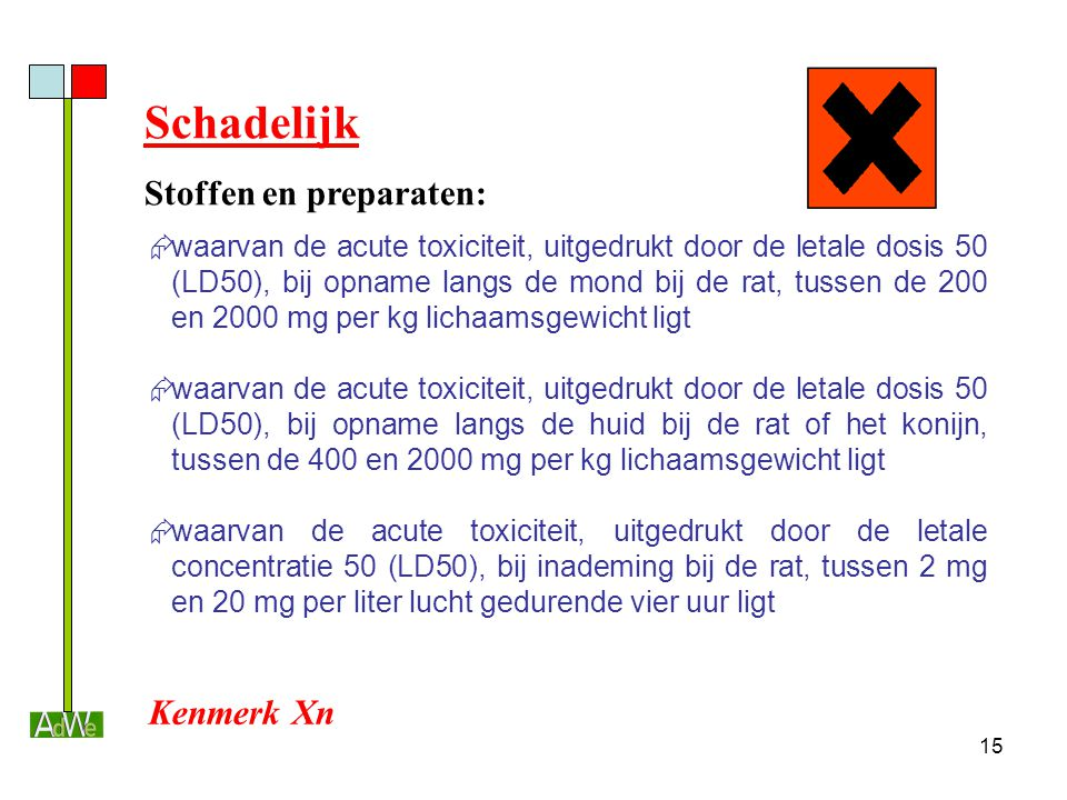 Schadelijk Stoffen en preparaten: Kenmerk Xn