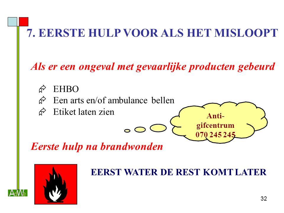 7. EERSTE HULP VOOR ALS HET MISLOOPT EERST WATER DE REST KOMT LATER