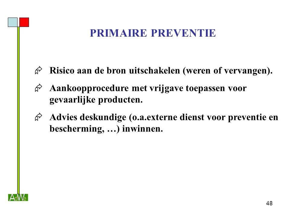 PRIMAIRE PREVENTIE Risico aan de bron uitschakelen (weren of vervangen). Aankoopprocedure met vrijgave toepassen voor gevaarlijke producten.