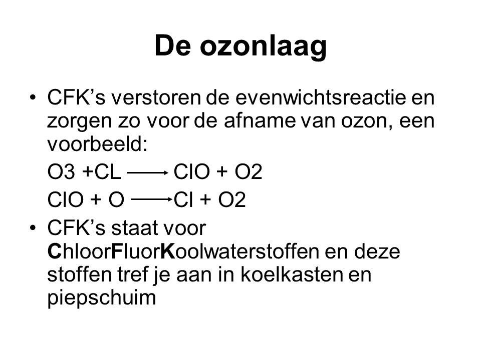 De ozonlaag CFK's verstoren de evenwichtsreactie en zorgen zo voor de afname van ozon, een voorbeeld: