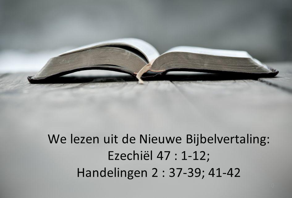 We lezen uit de Nieuwe Bijbelvertaling: Ezechiël 47 : 1-12; Handelingen 2 : 37-39; 41-42
