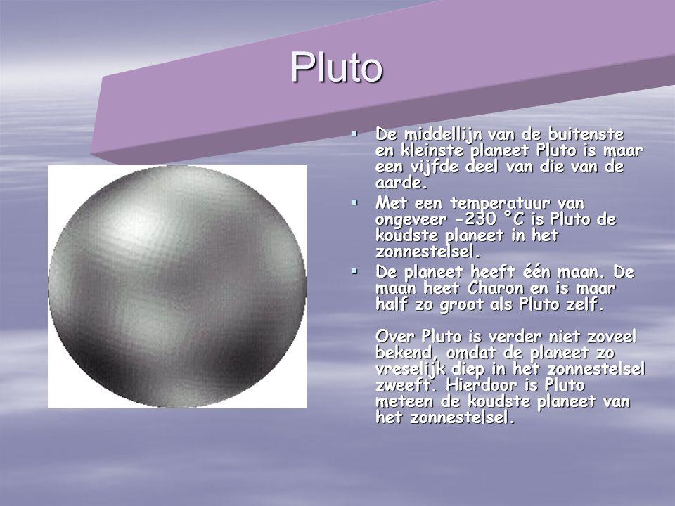 Pluto De middellijn van de buitenste en kleinste planeet Pluto is maar een vijfde deel van die van de aarde.