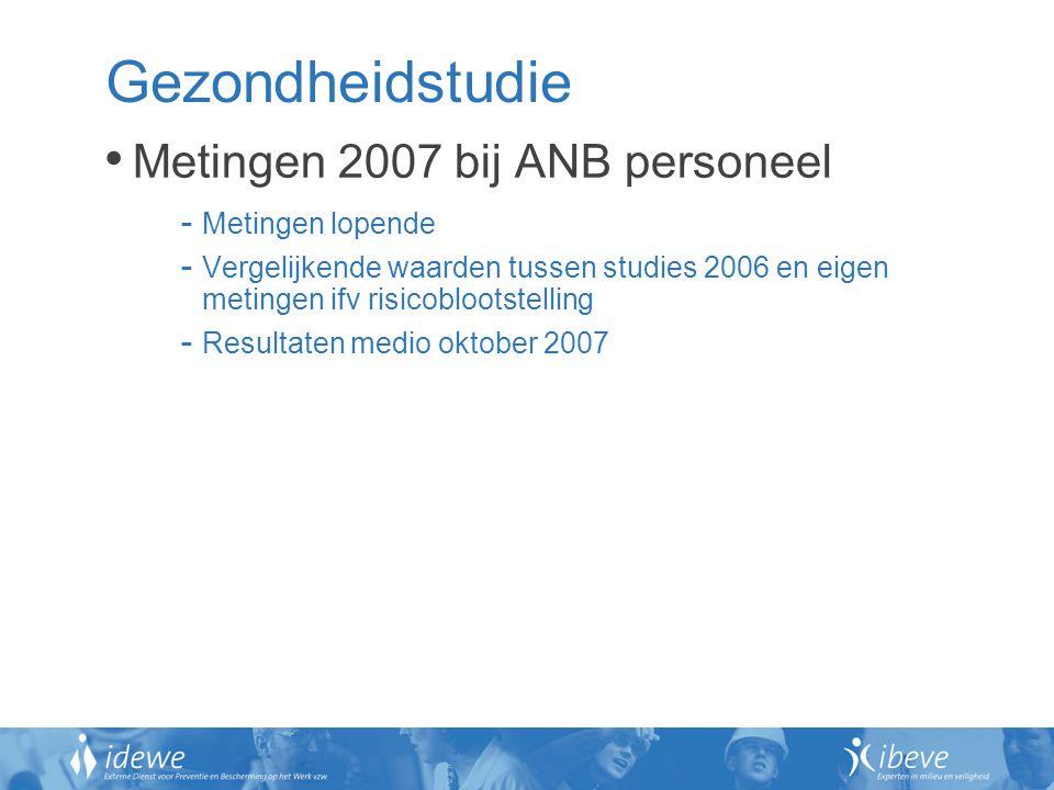 Gezondheidstudie Metingen 2007 bij ANB personeel Metingen lopende