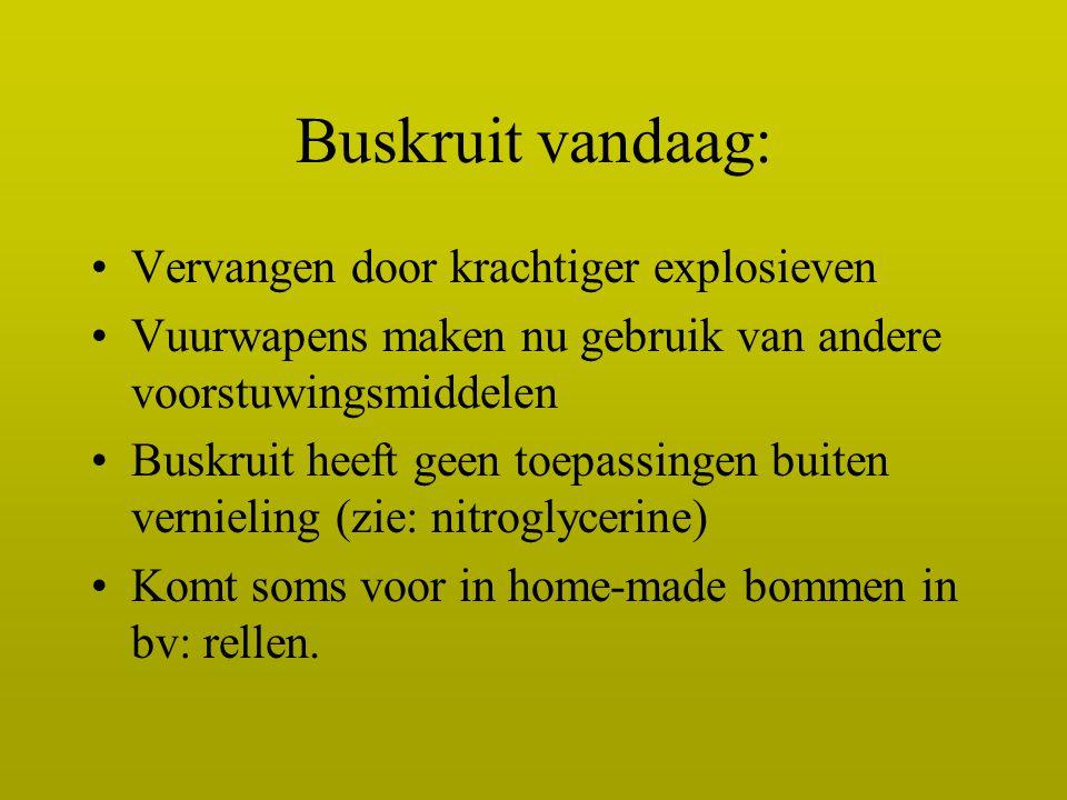Buskruit vandaag: Vervangen door krachtiger explosieven