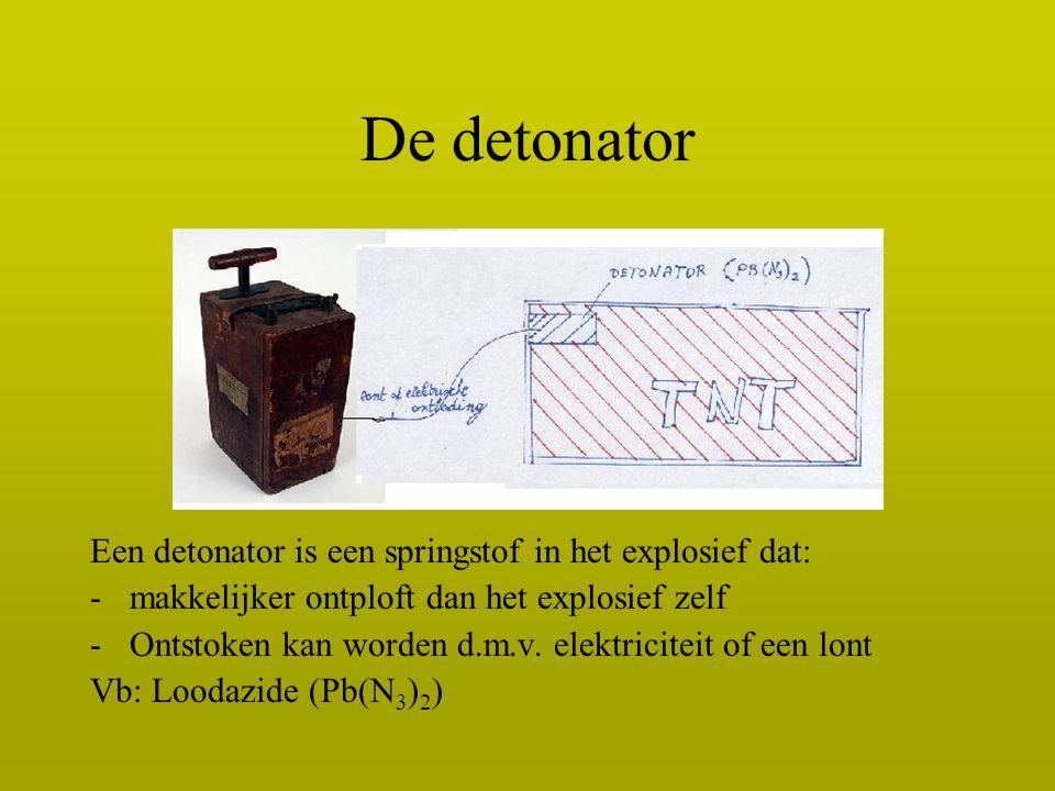 De detonator Een detonator is een springstof in het explosief dat: