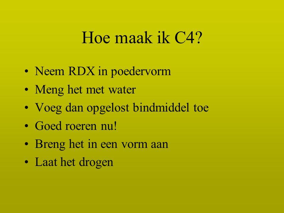 Hoe maak ik C4 Neem RDX in poedervorm Meng het met water