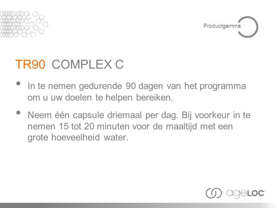 Productgamma TR90 COMPLEX C. In te nemen gedurende 90 dagen van het programma om u uw doelen te helpen bereiken.