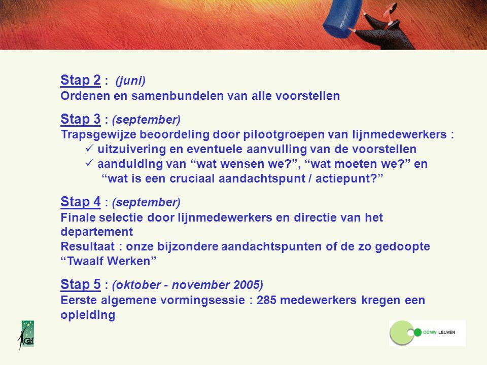 Stap 5 : (oktober - november 2005)