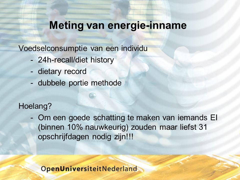 Meting van energie-inname