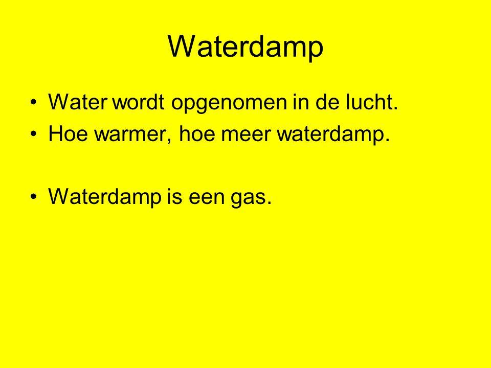 Waterdamp Water wordt opgenomen in de lucht.