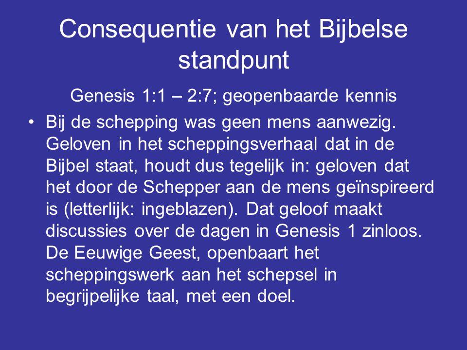 Consequentie van het Bijbelse standpunt