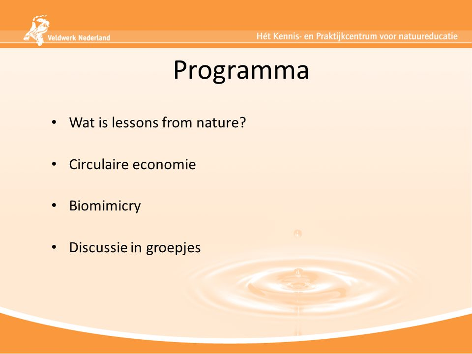 Programma Wat is lessons from nature Circulaire economie Biomimicry