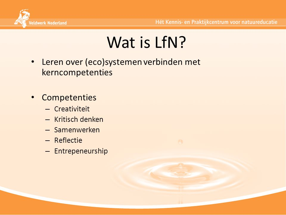 Wat is LfN Leren over (eco)systemen verbinden met kerncompetenties