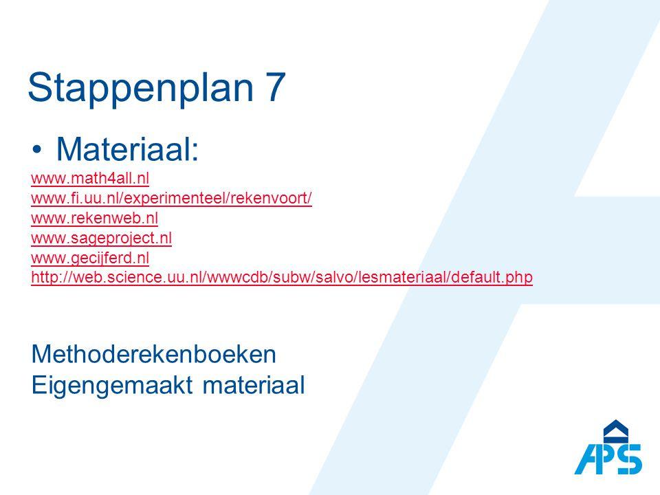 Stappenplan 7 Materiaal: Methoderekenboeken Eigengemaakt materiaal
