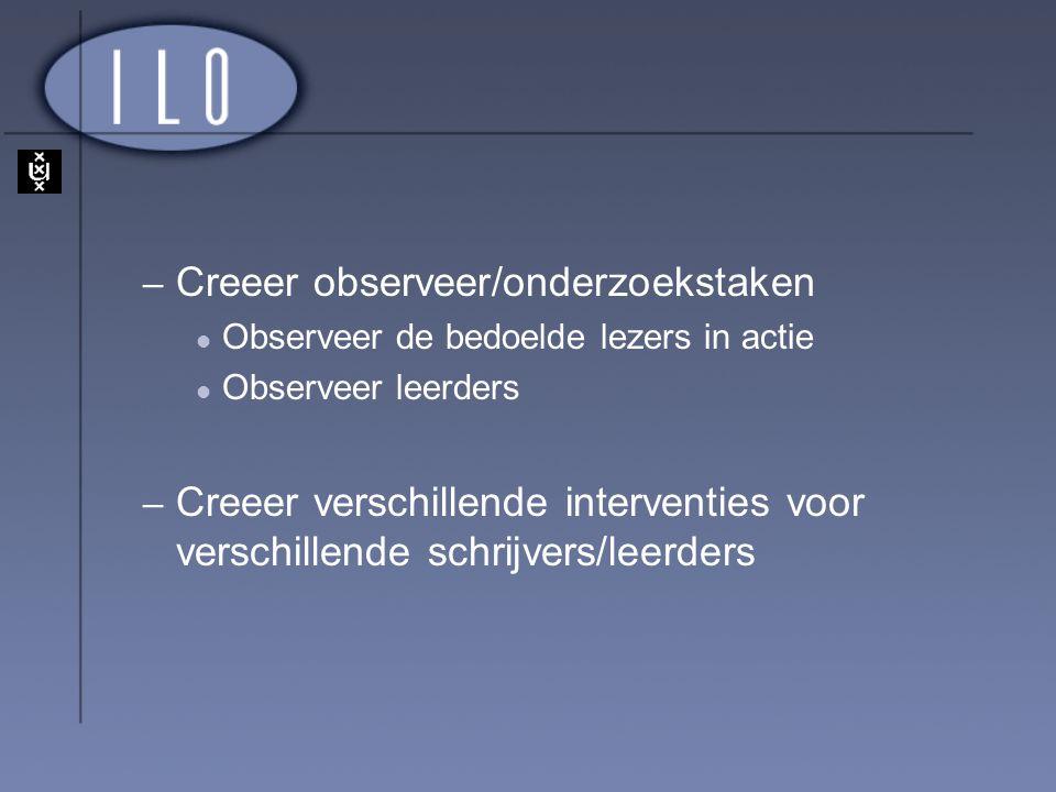 Creeer observeer/onderzoekstaken