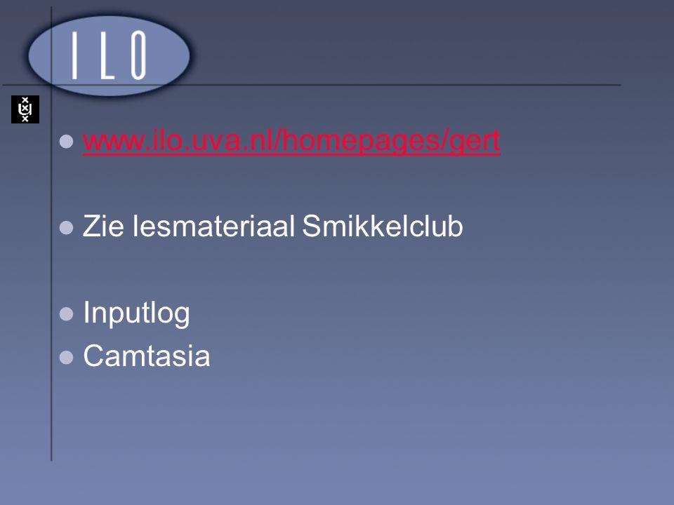 www.ilo.uva.nl/homepages/gert Zie lesmateriaal Smikkelclub Inputlog Camtasia