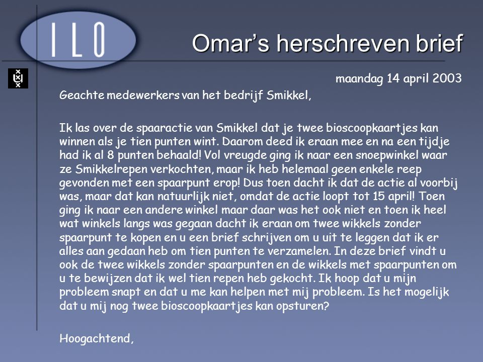 Omar's herschreven brief