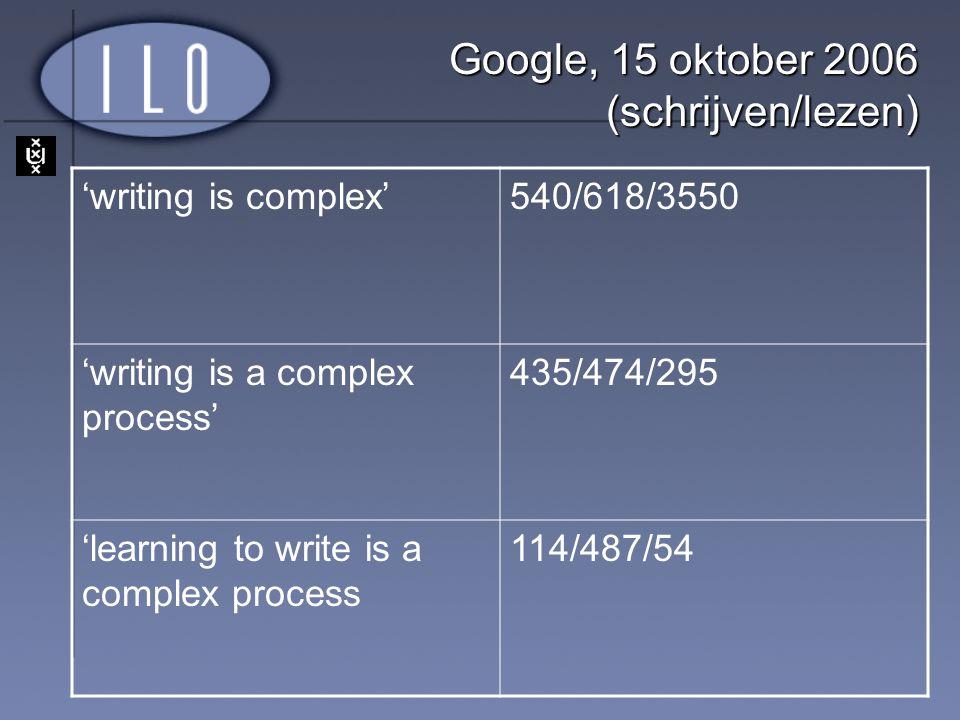 Google, 15 oktober 2006 (schrijven/lezen)