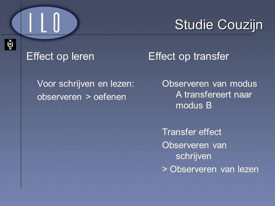 Studie Couzijn Effect op leren Effect op transfer