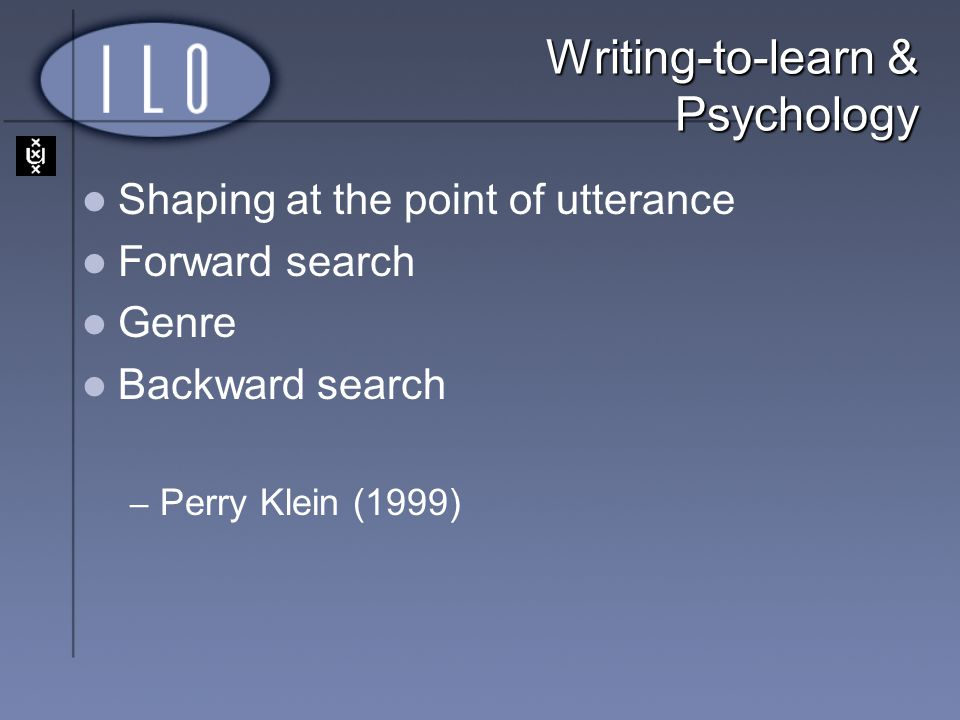Writing-to-learn & Psychology