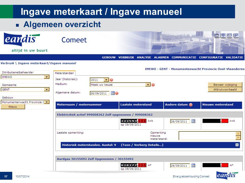 Ingave meterkaart / Ingave manueel