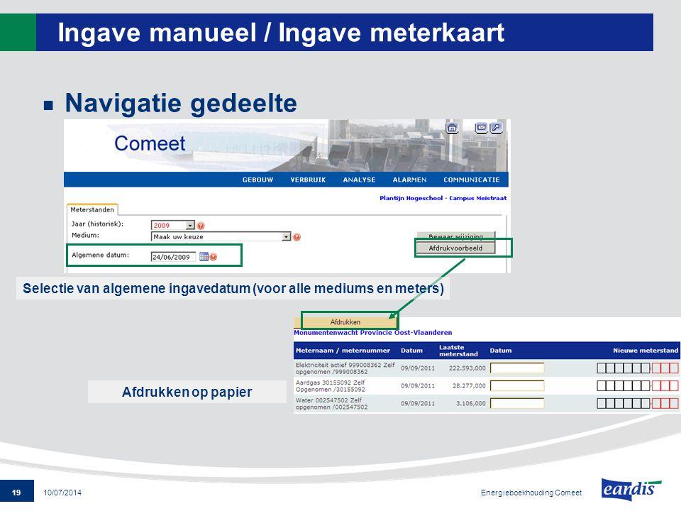 Ingave manueel / Ingave meterkaart