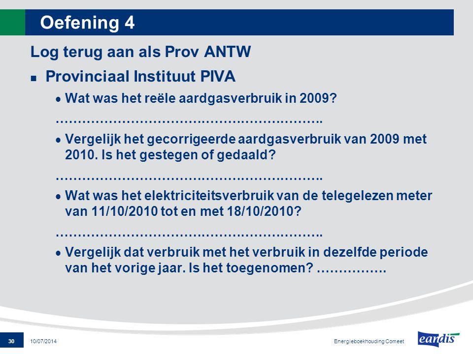 Oefening 4 Log terug aan als Prov ANTW Provinciaal Instituut PIVA