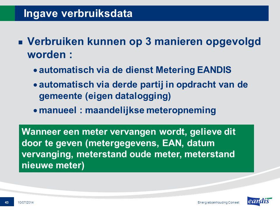 Verbruiken kunnen op 3 manieren opgevolgd worden :