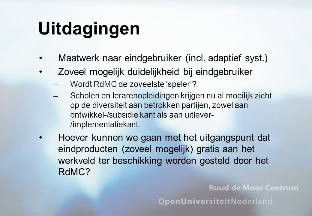 Uitdagingen Maatwerk naar eindgebruiker (incl. adaptief syst.)