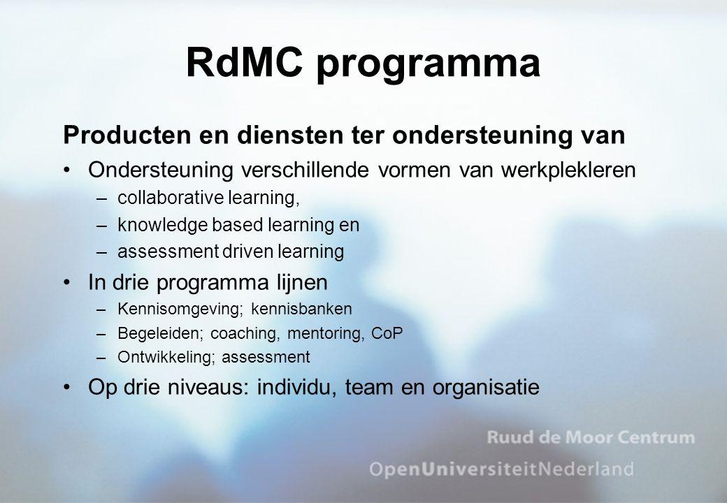 RdMC programma Producten en diensten ter ondersteuning van