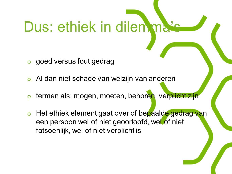 Dus: ethiek in dilemma's