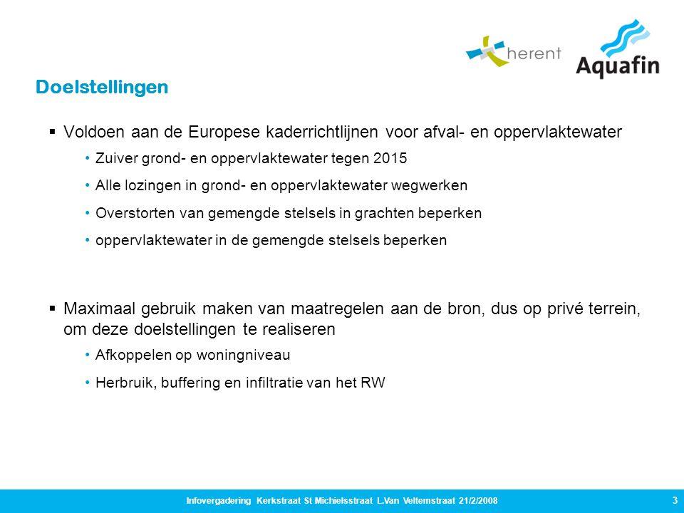 Doelstellingen Voldoen aan de Europese kaderrichtlijnen voor afval- en oppervlaktewater. Zuiver grond- en oppervlaktewater tegen 2015.
