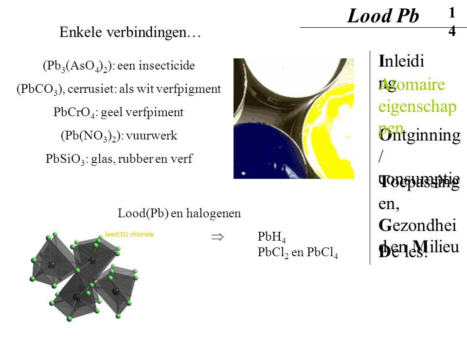 Lood Pb Inleiding Atomaire eigenschappen Ontginning / consumptie