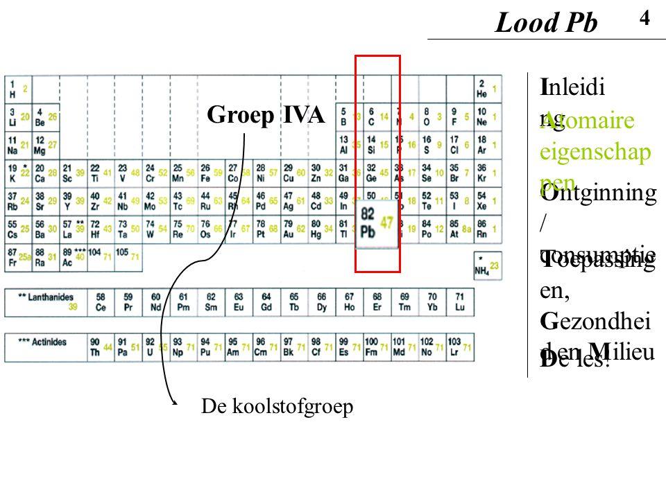 Lood Pb Inleiding Groep IVA Atomaire eigenschappen
