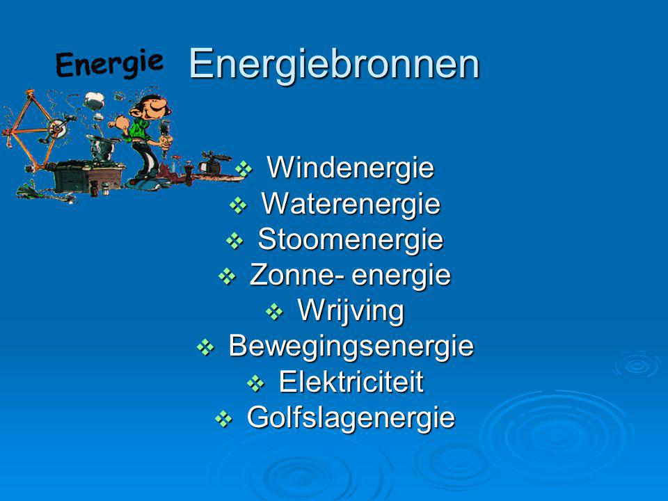 Energiebronnen Windenergie Waterenergie Stoomenergie Zonne- energie