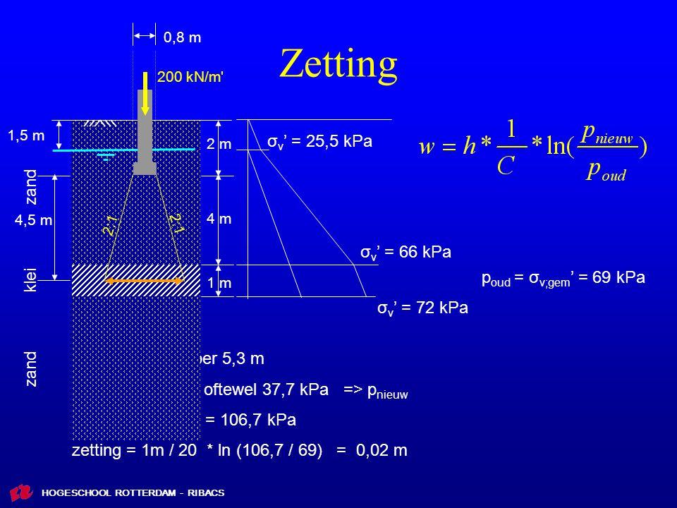 Zetting σv' = 25,5 kPa zand σv' = 66 kPa klei poud = σv;gem' = 69 kPa