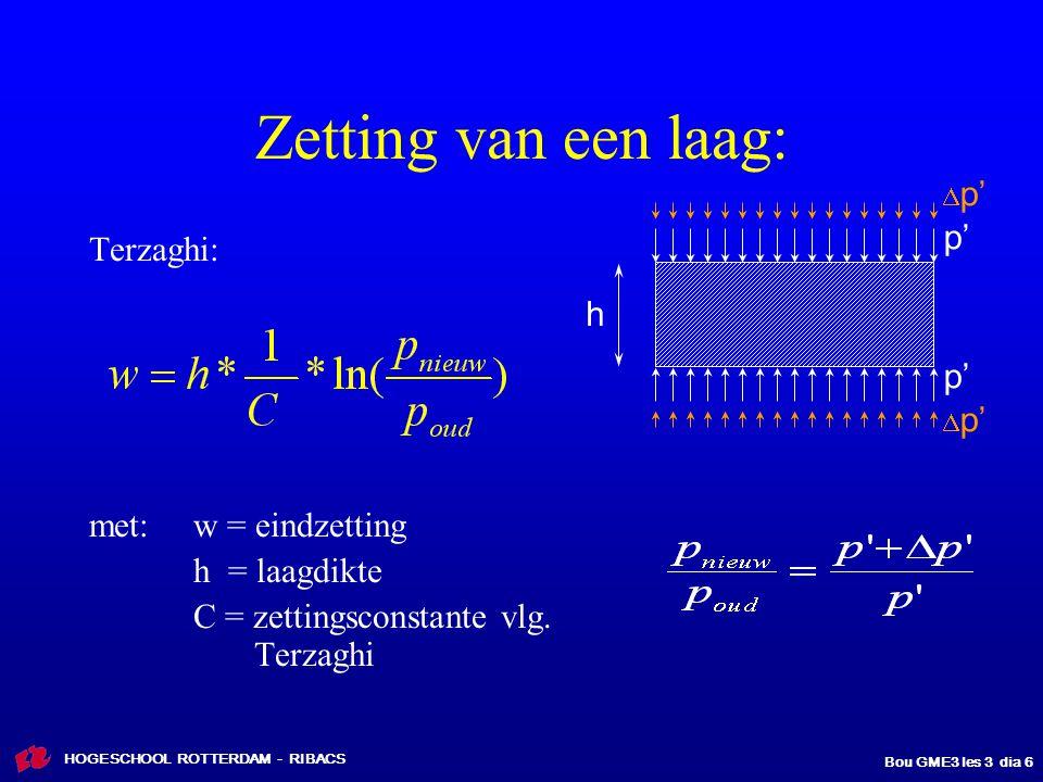 Zetting van een laag: p' Terzaghi: h p' met: w = eindzetting