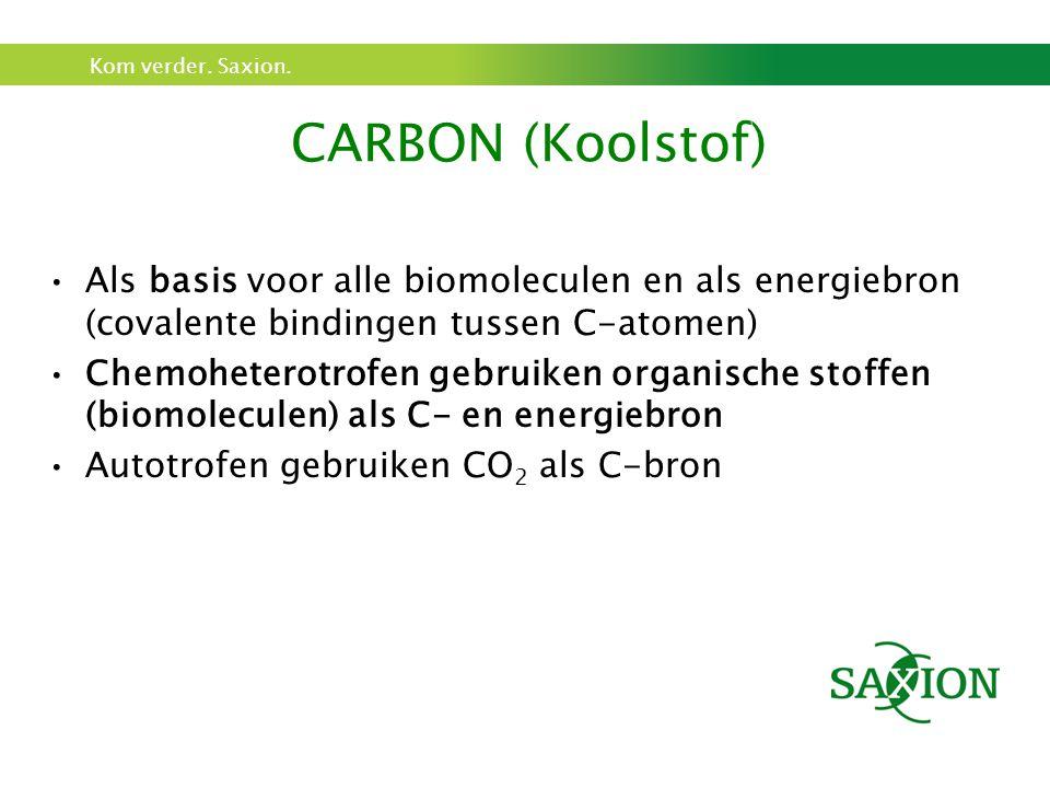 CARBON (Koolstof) Als basis voor alle biomoleculen en als energiebron (covalente bindingen tussen C-atomen)