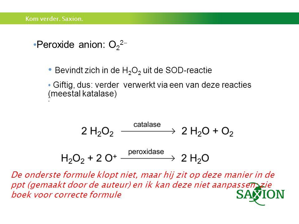 Bevindt zich in de H2O2 uit de SOD-reactie