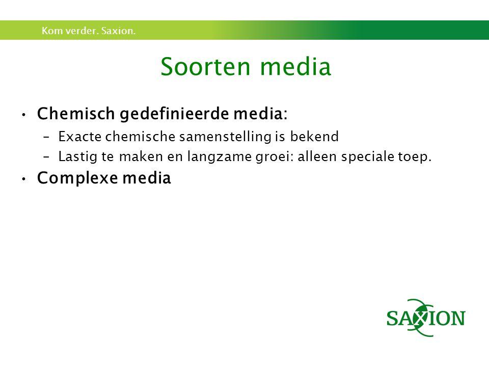 Soorten media Chemisch gedefinieerde media: Complexe media