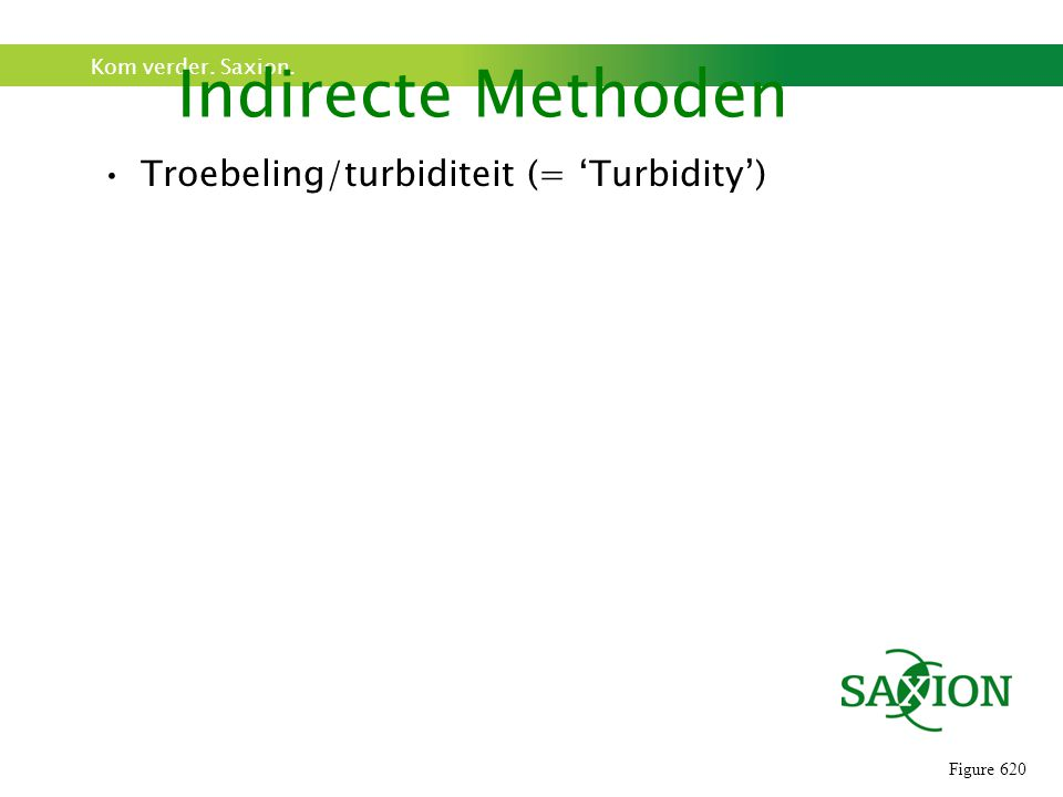 Indirecte Methoden Troebeling/turbiditeit (= 'Turbidity') Figure 620