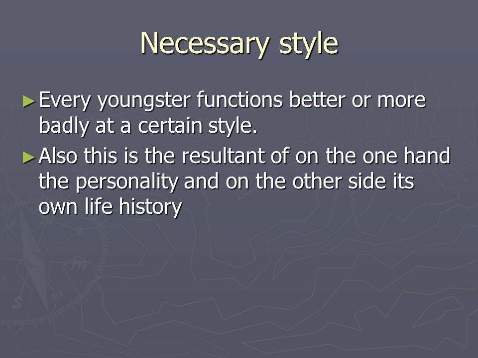 Necessary style Every youngster functions better or more badly at a certain style.