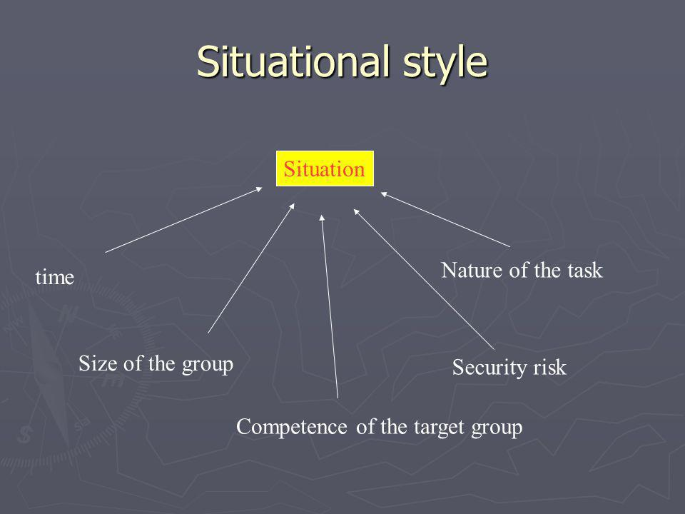 Situational style Situation Nature of the task time Size of the group