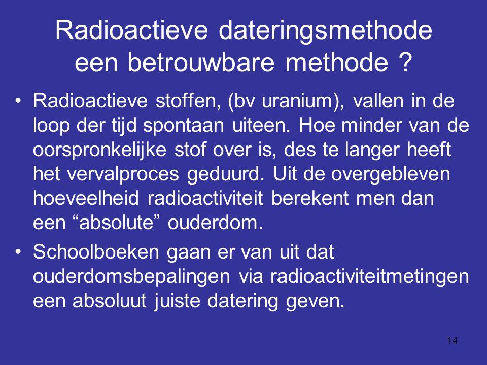 Radioactieve dateringsmethode een betrouwbare methode