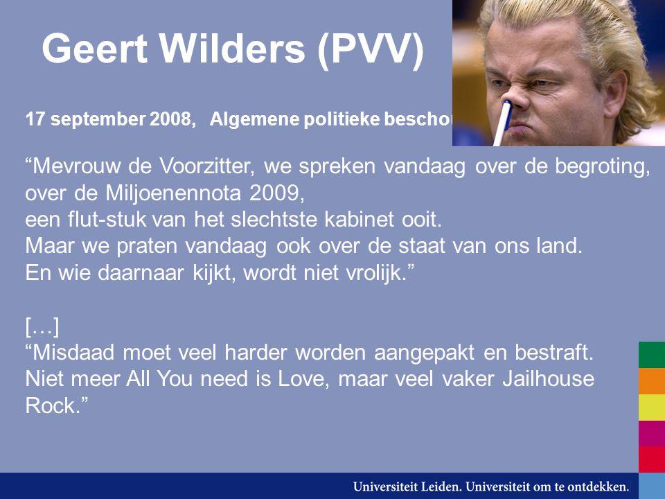 Geert Wilders (PVV) over de Miljoenennota 2009,