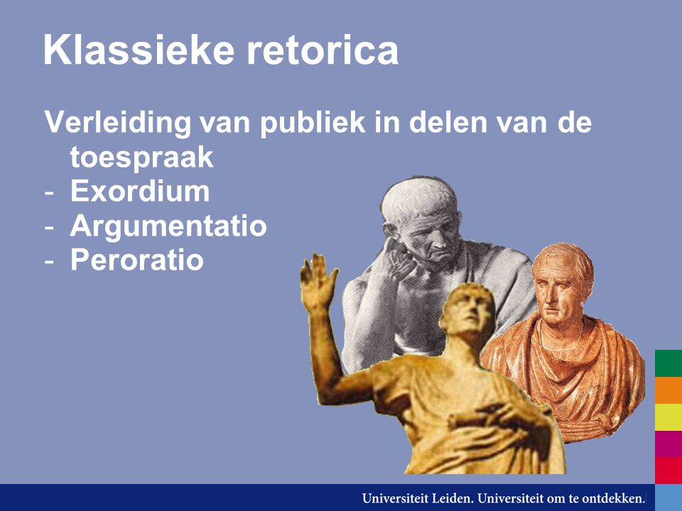 Klassieke retorica Verleiding van publiek in delen van de toespraak